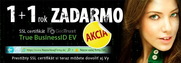 AKCIA certifikát GeoTrust EV 1+1 rok zadarmo